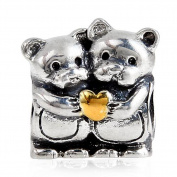 Two Bears Hug Charm with Gold Plated Heart Antique 925 Sterling Silver Love Beads for Valentines Day Gifts
