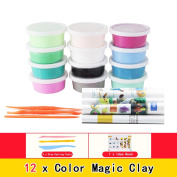 Razou 12 Colours Ultra-light Plasticine Magic Modelling Polymer Clay with Tools for Kids DIY
