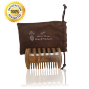 Wildewood Beard Products Dual Action Anti Static Handcrafted Wooden Beard and Hair Comb for Men - Sandalwood Scent - Beard Comb Pocket Fine and Coarse T