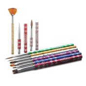 Alonea 9Pcs Beauty Nail Art Design Set Dotting Painting Drawing Polish Brush Pen Tools