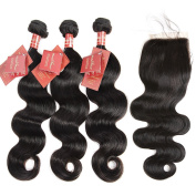 Moda Mode Hair Virgin Human Hair Extensions Brazilian Body Wave 3 Bundles with Lace Closure Free Part (20 22 24+41cm Closure) Tangle Free Natural Colour Weft