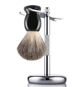 Badger Hair Shaving Brush and Chrome Razor Stand Shaving Set