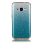 Moonmini Gradient Colour Sparkling Glitter Ultra Slim Fit Soft TPU Phone Back Case Cover for Samsung Galaxy J1 (2016) J120 - Sky-blue