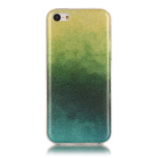 Moonmini Gradient Colour Sparkling Glitter Ultra Slim Fit Soft TPU Phone Back Case Cover for Apple iPhone 5c - Yellow + Green