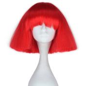 Miss U Hair Short Kinky Straight Wig Women Fashion Party Hair Wig Cosplay Wig (Red) C090-A03