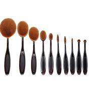 Fashion & Lifestyle Makeup Brush Set - 10 Pcs Soft Oval Toothbrush Kabuki Beauty Tools Foundation Blending Blush Contour Concealer Eyeliner Face Powder Cosmetics Brushes Kit, Black