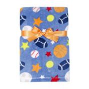 Baby Gear Plush Velboa Ultra Soft Baby Boys Blanket 30 x 40, Sports