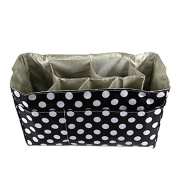 Artempo Baby Nappy Bag Insert Organiser with 14 x 16cm x 20cm Nappy Changing Pad Value Combo Storage Bag Unattached Dividers Durable Waterproof Black In Colour With White Dots