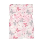 Baby Gear Plush Velboa Ultra Soft Baby Girls Blanket 30 x 40, Pink Butterfly