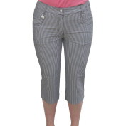 Daily Sports Ladies Cotton Mix Golf Capri Trousers in Grey Pin Stripe Size 14