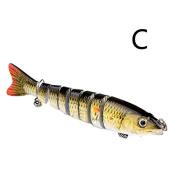 Ioffersuper 15cm Multi-jointed 8-segement Pike Fishing Lure Swimbait Crankbait Hard Bait C