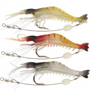 Wannabuy Artificial Silicone Soft Bait Set, Luminous Shrimp Fishing Lure with Hook Fishing Tackle, Freshwater/ Saltwater(3pcs/lot 8.5cm 6g)