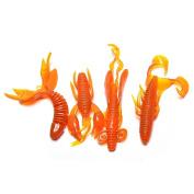 Ioffersuper 4Pcs/set Minnow Soft Bait Artificial Fishing Lure Worm Shrimp Tackle Kit Orange