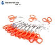 OdontoMed2011® 12 PCS PARAMEDIC UTILITY BANDAGE FIRST AID STAINLESS STEEL TRAUMA EMT EMS SHEARS SCISSORS 18cm NEON ORANGE ODM
