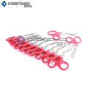 OdontoMed2011® 12 PCS PARAMEDIC UTILITY BANDAGE FIRST AID STAINLESS STEEL TRAUMA EMT EMS SHEARS SCISSORS 2.2m RED ODM