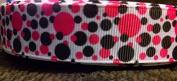 Hot Pink & Black Grosgrain Ribbon - 5 Yards