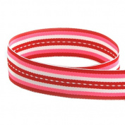USA Made 2.2cm Sweetheart Stitch Valentine Striped Grosgrain Ribbon (Red, Pink, & White Stripe Ribbon) - 50 Yards