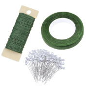 eBoot Floral Arrangement Kit 1/ 5.1cm Floral Tape, 22 Gauge Floral Wire and 100 Pieces Ball Head Pins
