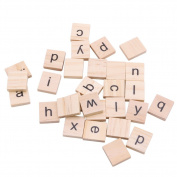 Kocome 100Pcs Wooden Alphabet Scrabble Tiles Black Letters Crafts Wood Scrapbooking