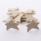 Package of 39 Individual Unfinished Wood Primitive Stars for Crafting, Creating, and Embellishing