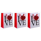 WITH LOVE Heart Sparkle Glitter Gift Bags (3 PACK) - 18cm x 23cm Medium Size Bag for VALENTINE'S DAY, ANNIVERSARY'S, BIRTHDAYS
