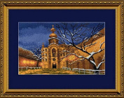 Embroidery Counted cross stitch kit Charivna mit #360 Cityscapes Night Winter Church 30x18 cm / 11.81x7.09 in