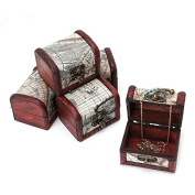 Stebcece Vintage Jewellery Treasure Lock Necklace Bracelet Case Wood Storage Box Organiser