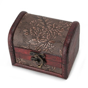 Stebcece Vintage Wood Jewellery Necklace Storage Box Case Holder Treasure Chest Organiser