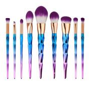 Hunputa 9PCS/Set Make Up Foundation Eyebrow Eyeliner Blush Cosmetic Concealer Brushes