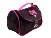 Multifunctional Make up Toiletry Case Bag Organiser with Bowknot Cosmetic Bag Hand Pouch Tote Bag with Zipper for Travel
