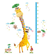 Winhappyhome Giraffe Animals Children Height Sticker Growth Measurement Wall Art Stickers for Kids Room Living Room Nursery Background Removable Decor Decals