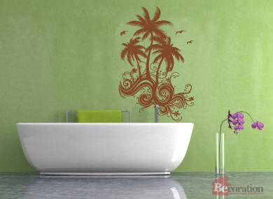 Wall Decal Sticker Bedroom Palm Trees Beach Waves Vacation Bathroom Decor 351b