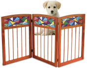Kleeger Freestanding Wooden Pet Safety Gate – Indoor Home & Office – Wood & Stained Glass Folding Design - For Cats Dogs & Pets – No Set Up Required