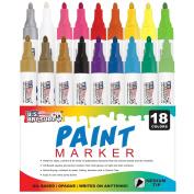 U.S. Art Supply 18 Colour Medium Point Tip Paint Pen Set
