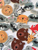 Embellish With Love Wooden Animal Buttons - 25 Count