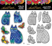 Stampendous Laurel Burch Cling Stamp and Die - Indigo Cats - 2 Item Bundle