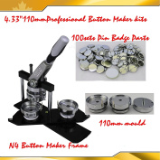"""N4 3"""" (110mm) kit !Badge Button Maker + Circle Cutter +100 Pin Badge SCHOOL PARTY COMPANY DIY!"""