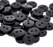 """areeratshop Resin Sewing Button Scrapbooking Round Black Two Holes 9mm(3/8"""")x 2mm(1/8""""),100 PCs 2015 new"""