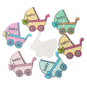 """areeratshop Wood Sewing Button Scrapbooking Baby Carriage Mixed Two Holes 3.4cm(1 3/8"""") x 3.2cm(1 2/8""""), 30 PCs 2015 new"""