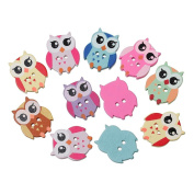 "areeratshop Wood Sewing Button Scrapbooking Owl Mixed Two Holes 21mm(7/8"")x 17mm(5/8""),40 PCs"