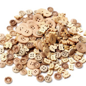 Kocome 100pcs 2 Holes Natural Colour Mix Shape Wooden Pattern Wood Sewing Buttons