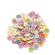 Kocome 100Pcs Mixed Colour 15mm Polka Dot Rustic Plaid Handmade Small Wooden Buttons