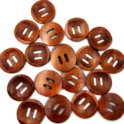 Kocome 25Pcs Round 2 Holes Wood Sewing Buttons 30mm Craft Clothes DIY Scrapbook