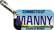 Personalised Connecticut Conserve Zipper Pull State Licence Plate Replica