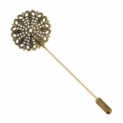 HooAMI 10 Bronze Tone Filigree Flower Beading Coat Stick Pin with Clutch Brooches 7.5x2.5cm