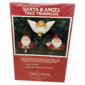 Vintage 1990 Jan Kornfeind Country Appliques Santa & Angel Tree Trimmers Collectible Ornaments Sewing Patterns 7.6cm , 10cm