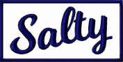 Salty Iron On Embroidered Patch Applique - Navy Blue, White - 7.6cm x 3.8cm Rectangle