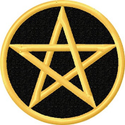 Star In Circle Pentacle Iron On Embroidery Patch Applique - Black, Gold - 6.4cm Diameter