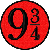 Nine and Three Quarters 9 3/4 Iron On Embroidered Patch Applique - Red, Black - 6.4cm Diameter