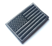 Tactical USA Flag Patch with Hook and loop Backside, Black & Grey Embroidered Patch 5.1cm x 7.6cm by BossBee